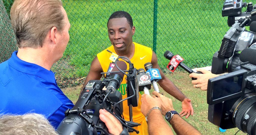 Feddy Adu talks to media at Rowdies training (Photo: Tampa Bay Rowdies)