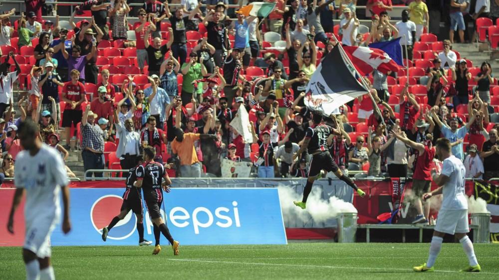 Aly Hassan celebrated his goal against the Carolina Railhawks (Photo: Ottawa Fury FC)