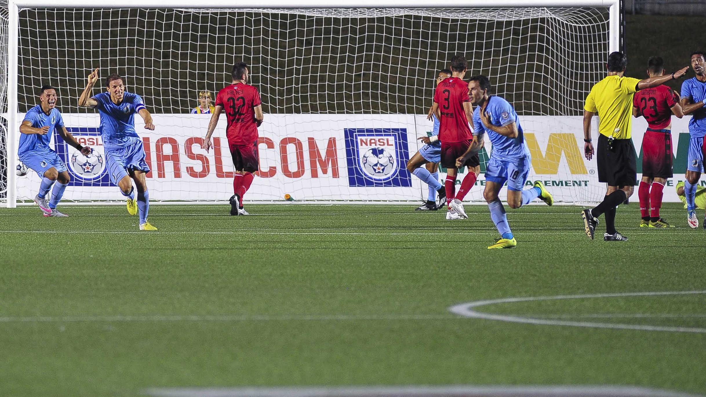 Daniel Mendes celebrates his game winning free kick. (Photo: Ottawa Fury FC)